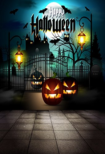 Baocicco Halloween Backdrop Moon Night Haunted House 5x7ft Vinyl Photography Background Grimace Pumpkin Old Lantern Flying Bats Happy Halloween Costume Party Photo Shooting Studio Prop