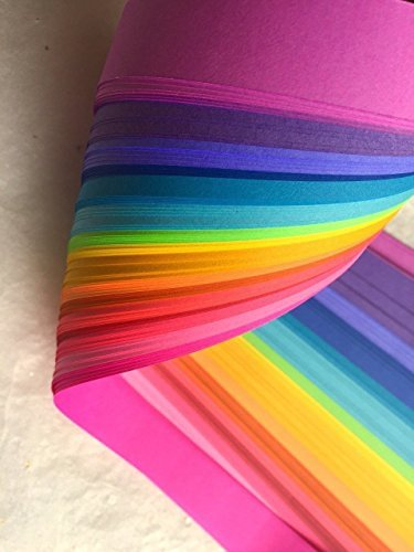Weaving Paper Strips, 100 Pack, Bright Rainbow Colors (1 inch) ()