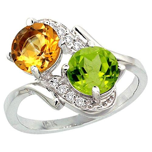 (10K White Gold Diamond Natural Citrine & Peridot Mother's Ring Round 7mm, size 7)