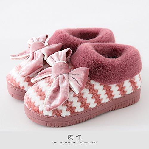 Bella Ladies Imbottito 41 Marmo Pelle Sottopiede Shoesred 40 Morbido Pantofole Home Di Laxba Cotone q4vwvSB