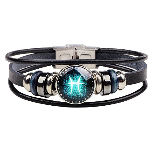 Dcfywl731 Retro 12 Zodiac Constellation Beaded Hand Woven Leather Bracelet Punk Chain Cuff (Pisces)]()