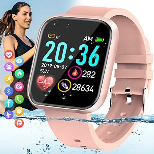 Peakfun Smart Watch,Fitness Watch Activity Tracker with Heart Rate Blood Pressure Monitor IP67 Waterproof Touch Screen Bluetooth Android Phone Smartwatch Sports Watch for Android iOS Phones Women Pink 1
