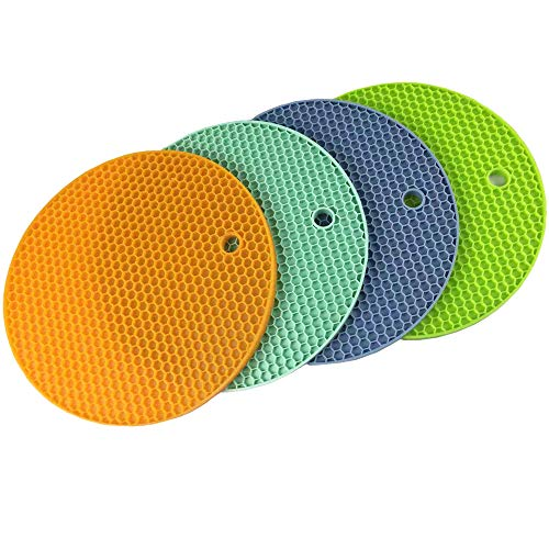 Silicone Non-slip Insulation Honeycomb Trivet Mats-Heat Resistant,Thick,Flexible,Multipurpose 5-in-1 Reuseable Silicone Kitchen Tool,Perfect for Hot Pads,Pot Holders,Spoon Rest,Jar Opener and Coasters ()