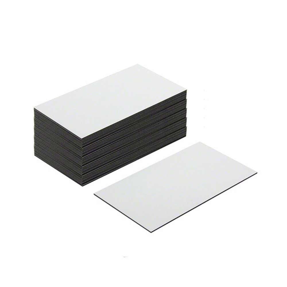 Magnet Expert® Flexible Magnetic Labels with Gloss White Dry Wipe Surface (89 x 51 x 0.76mm) (Pack of 100) Magnet Expert® F4MBCGW-100