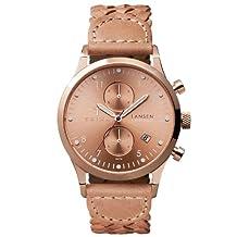 Triwa Women's BD010614 Rose Lansen Chrono Rose Dial Tan Leather Braided Strap Watch