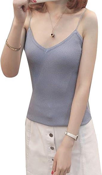 Mujer Basicas Cuello V Camisas Blusas Sin Mangas Top Camisetas Tirantes Azul Claro Un Tamaño: Amazon.es: Ropa y accesorios