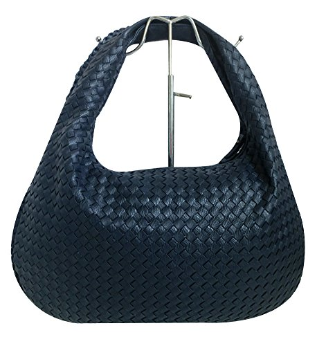 en's Classic Italian Intricate Woven Large Flat Hobo Handbag Shoulder Bag (Navyblue) (Italian Leather Large Hobo)