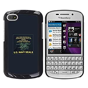 Impact Case Cover with Art Pattern Designs FOR BlackBerry Q10 Navy Seals Army War Poster U'S Blue Betty shop