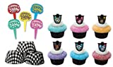 24 Monster High Cupcake Decoration Rings with 6 Happy Birthday Picks and 24 Black Plaid Baking Cups, Health Care Stuffs