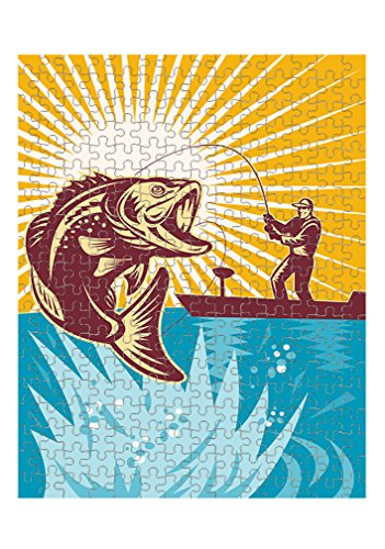 Style in Print Largemouth Bass Fisherman Fishing Rod Jigsaw Puzzle Print 252 Pieces