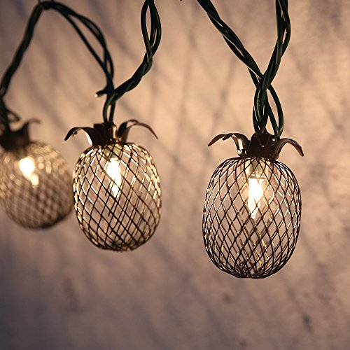 Lidore? Set of 10 Metal Pineapple Shaped Lanterns String Lights. Best For Indoor/Outdoor Decoration. Warm White Light. - Renaissance Corner Table