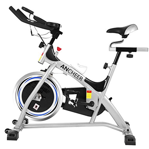 (ANCHEER Indoor Cycling Exercise Bike (Sliver))