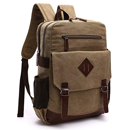 Vintage Canvas Backpack Laptop for Men Casual Bookbag for College (Khaki) - 5