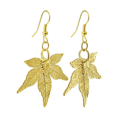 Gem Avenue 24k Yellow Gold Plated REAL Japanese Maple Leaf French Wire Dangle Earrings