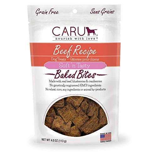 Caru - Beef Recipe, Soft 'N Tasty Baked Bites All-Natural Dog Treats, Made With Real Beef, Blueberries And Cranberries (4 Oz)