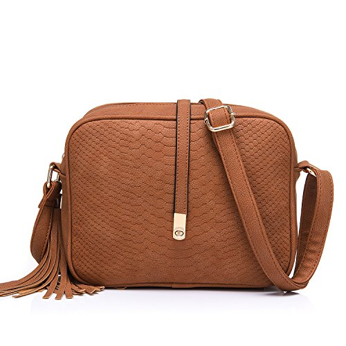 Small Crossbody Bags for Women Ladies Faux Leather Mini Shoulder Bag with Tassel Purse Brown