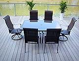 7pc Cast Aluminum Sling Swivel Patio Furniture Set For Sale
