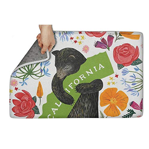 zyiirtpjfd Indoor Outdoor Entrance Doormat (23.5x15.5) I Love You California Bear Blossoming Flowers Heavy Duty Door Mat Welcome Easy Remain Dirt No-Slip Backing Rugs Dirt Debris Mud Trapper