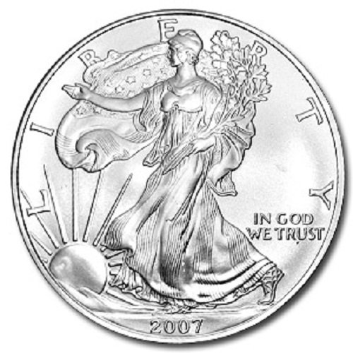 2007-1 Ounce American Silver Eagle Low Flat Rate Shipping .999 Fine Silver Dollar Uncirculated US ()