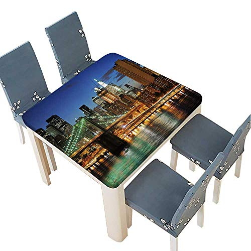 PINAFORE Indoor/Outdoor Polyester Tablecloth New York City Brooklyn Bridge Downtown at Night Wedding Restaurant Party Decoration 37.5 x 37.5 INCH (Elastic Edge) ()