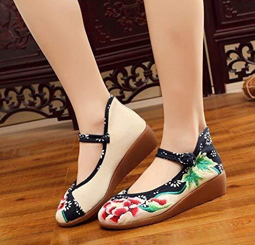 Moontang Bestickte Schuhe Leinen Sehnensohle Ethno-Stil Erhöhte Damenschuhe Mode bequem lässig Meter weiß 39 (Farbe   - Größe   -)