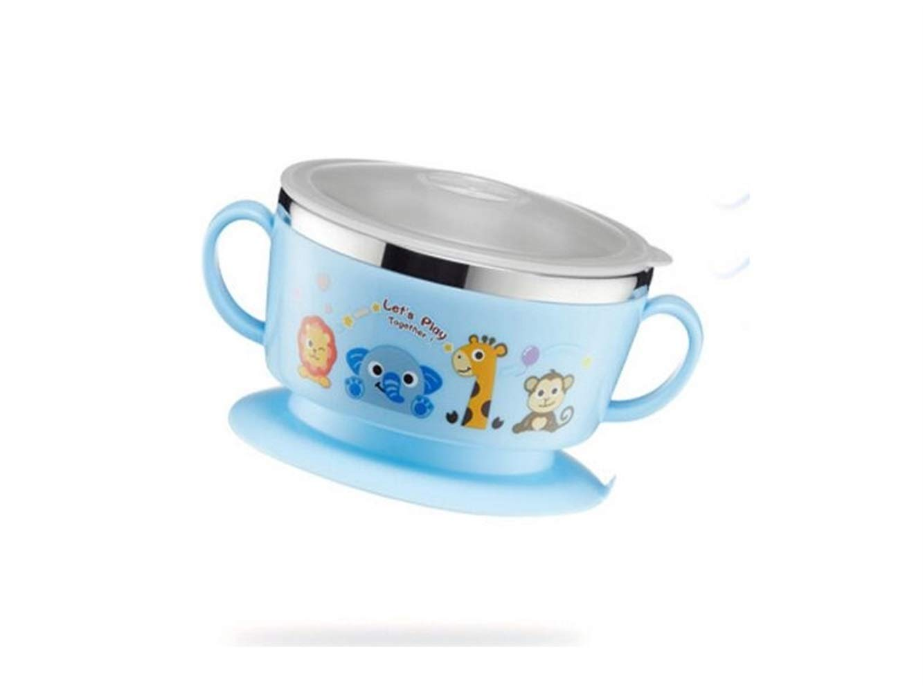 Yuchoi Contemporary Animal Pattern Baby Feeding Bowl Anti-Scald Stainless Steel Children Dish Insulation Bowl with Lid and Double Handles for Kids Students(Blue) by Yuchoi (Image #5)