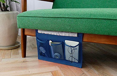 Wady 4-pocket dormitorio comodino bagagli materasso libro TV Remote iPad iPhone mobile Magazine Caddy organizer (blu)