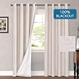 #5: H.VERSAILTEX Thermal Insulated Waterproof 100% Blackout Faux Linen Room Darkening Curtains for Bedroom 52 inch wide 84 inch Long Energy Efficient Window Curtain Panels (Natural, 2 Panels)