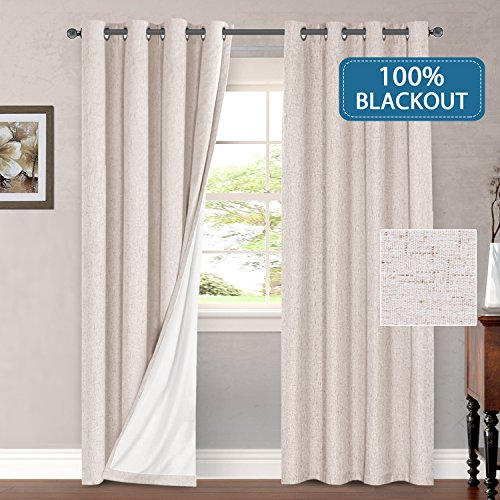 H.VERSAILTEX 100% Blackout Thermal Curtains for Bedroom Energy Efficient Lined Blackout Drapes for Living Room Window Treatment Set 52 x 96 inches Curtain Panel Grommet Top, Natural, Sold by Pair from H.VERSAILTEX