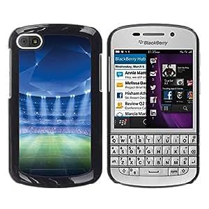 Caucho caso de Shell duro de la cubierta de accesorios de protección BY RAYDREAMMM - BlackBerry Q10 - Estadio de fútbol