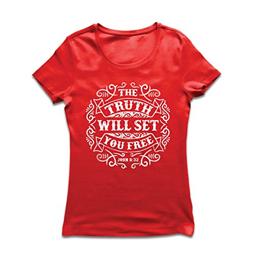 lepni.me Women's T-Shirt The Truth Will Set You Free - The Proof of Faith - Christian - Resurrection - Nativity, Religious (XX-Large Red Multi Color)