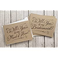 5 Pack - Will You Be My Bridesmaid Cards (4), Maid of Honor Card (1) - Assortment Pack of 5 - Kraft Rustic Wedding Party Cards