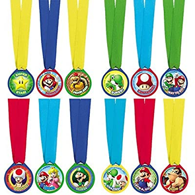 "amscan Super Mario Brothers Birthday Party Assorted Colors Mini Award Medal Favors (12 Piece), Multicolor, 1 1/2"": Kitchen & Dining"