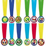 "Super Mario Brothers Birthday Party Assorted Colors Mini Award Medal Favours, Plastic, 1"", Pack of 12"