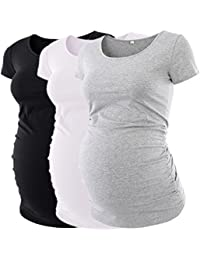 Womens Maternity Classic Side Ruched T-Shirt Tops Mama...