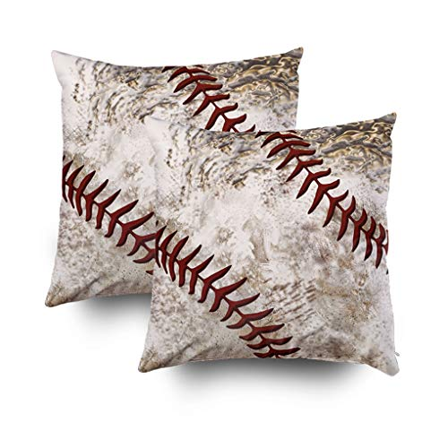 - Shorping Christmas Zippered Pillow Covers Pillowcases 18x18Inch 2 Pack Cool Round Dirty Baseball Guys Decorative Throw Pillow Cover Pillow Cases Cushion Cover for Home Sofa Bedding