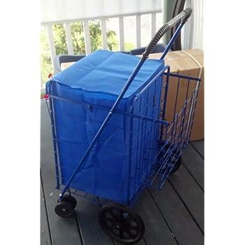 swivel wheels folding cart with double basket cart blue - Laundry Carts