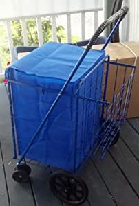 Amazon.com: Swivel Wheels FOLDING SHOPPING/LAUNDRY CART with Double Basket Cart - Blue: Home