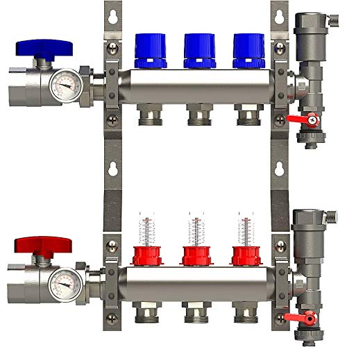 3 Loop Manifold Stainless Steel Pex 0-2 GPM Radiant Heating, with 1/2