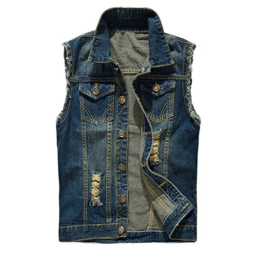 MAGE MALE Men Retro Ripped Denim Vest Sleeveless Jacket Waist Coat