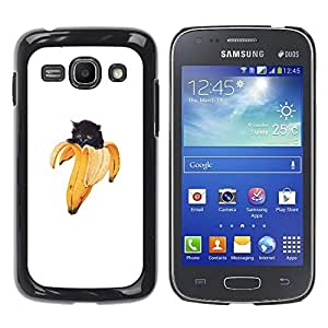 CASEX Cases / Samsung Galaxy Ace 3 GT-S7270 GT-S7275 GT-S7272 / Banana Cat Kitten - Funny Lol Yolo Animal # / Delgado Negro Plástico caso cubierta Shell Armor Funda Case Cover Slim Armor Defender