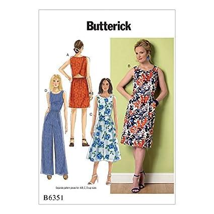 3b7a391d00 Amazon.com: Butterick Ladies Easy Sewing Pattern 6351 Open Back, Tulip  Detail Dresses & Jumpsuit: Home & Kitchen