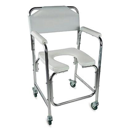 Mobiclinic Silla WC/Inodoro   De Aluminio, con Ruedas y reposabrazos Acolchados   Mod