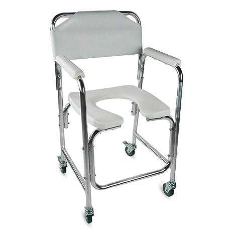 Mobiclinic Silla WC/Inodoro | De Aluminio, con Ruedas y reposabrazos Acolchados | Mod
