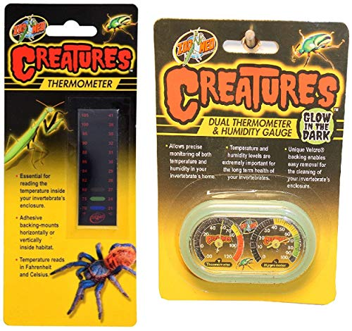 Zoo Med Creatures Thermometer and Dual Thermometer and Humidity Gauge Bundle ()