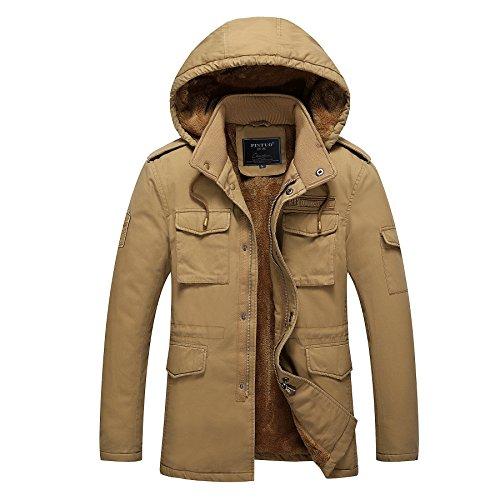 [Ubon Men's Snow Jacket Cotton Jackets(Khaki,US L/Tag 2XL)] (Snow Motorcycle Jackets)