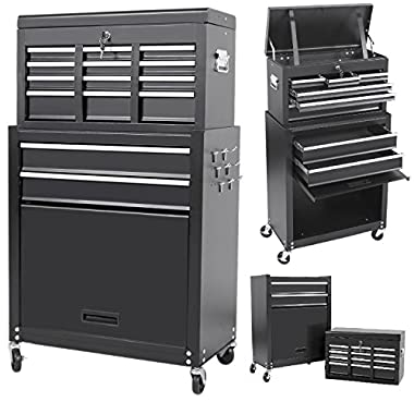 Summer Promotion Lockable Rolling Tool Chest Toolbox Organizer Garage Chest Roller Cabinet with 8 Drawer (Black)