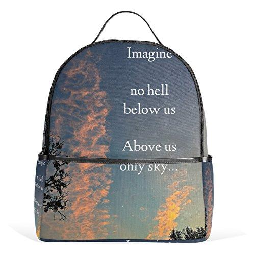Sunlome Imagine No Hell Below Us Above Us Only Sky Pattern Laptop Backpack Casual Shoulder Daypack for Student School Bag Handbag - Lightweight