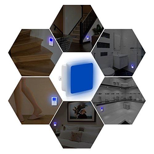 LOHAS Blue Night Light Bulb LED, Dusk to Dawn Sensor, Plug in Nightlights, 0.3W, Auto on/Off LED Lamps for Kids, Nursery, Hallway, Bedroom(4 Pack)