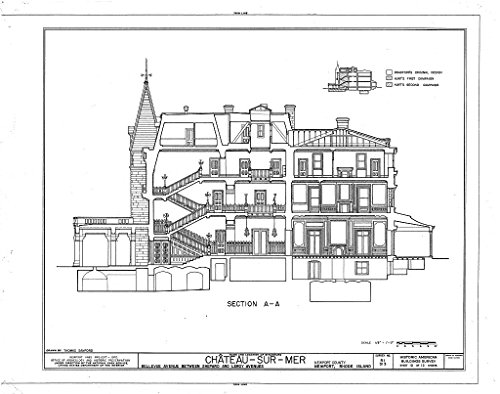Historic Pictoric Blueprint Diagram HABS RI,3-NEWP,59- (Sheet 10 of 12) - Chateau-sur-Mer, Bellevue Avenue, Newport, Newport County, RI 44in x ()